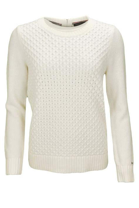 Pull col rond Tommy Hilfiger Gelly blanc pour femme