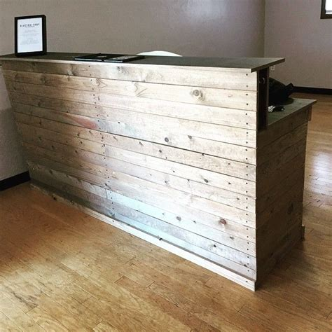 recycled wooden reception desk - Google Search | Wooden