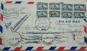 SOUTH AFRICA 1948 AIRMAIL COVER TO BAARN HOLLAND WITH 8 X