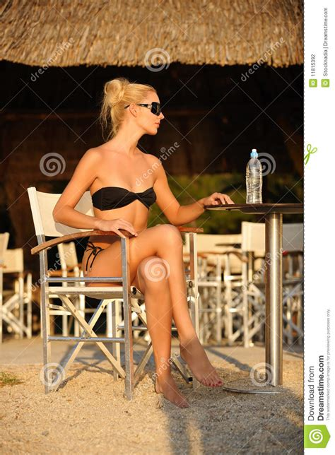 Woman In The Beach Bar Stock Photography - Image: 11815392