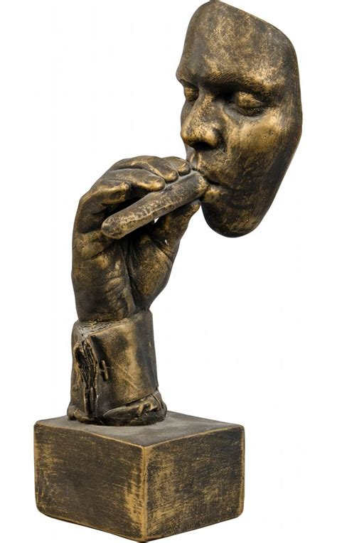 Face And Hand Smoking Cigar Bronze Cement Figural Count